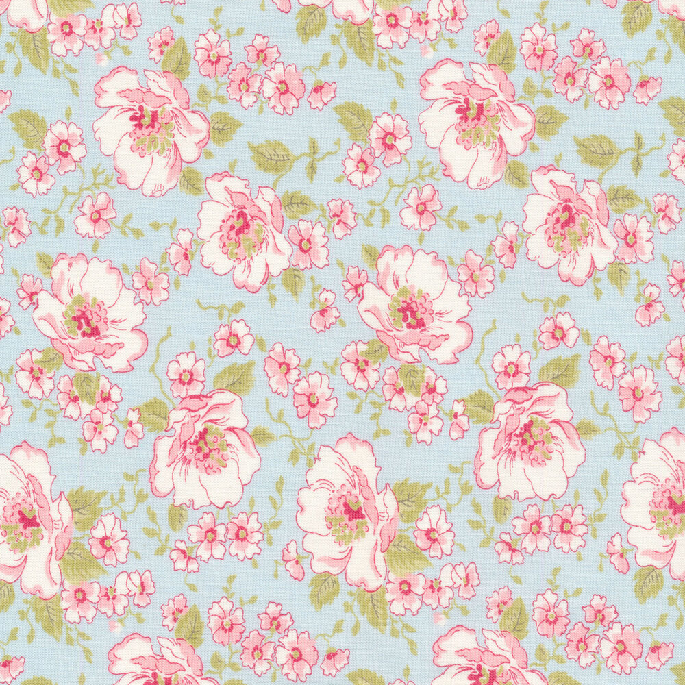 Pink and white flowers on a blue background