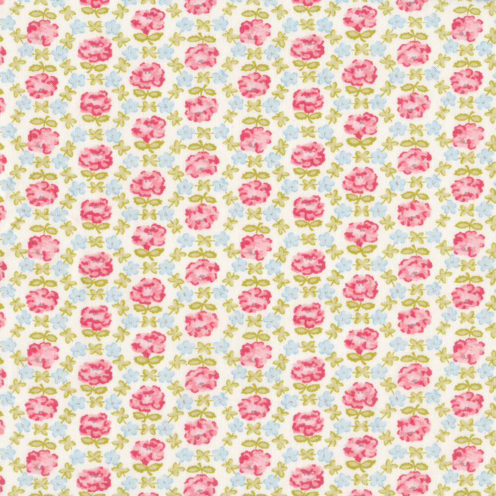 Pink and blue geometric floral on a white background