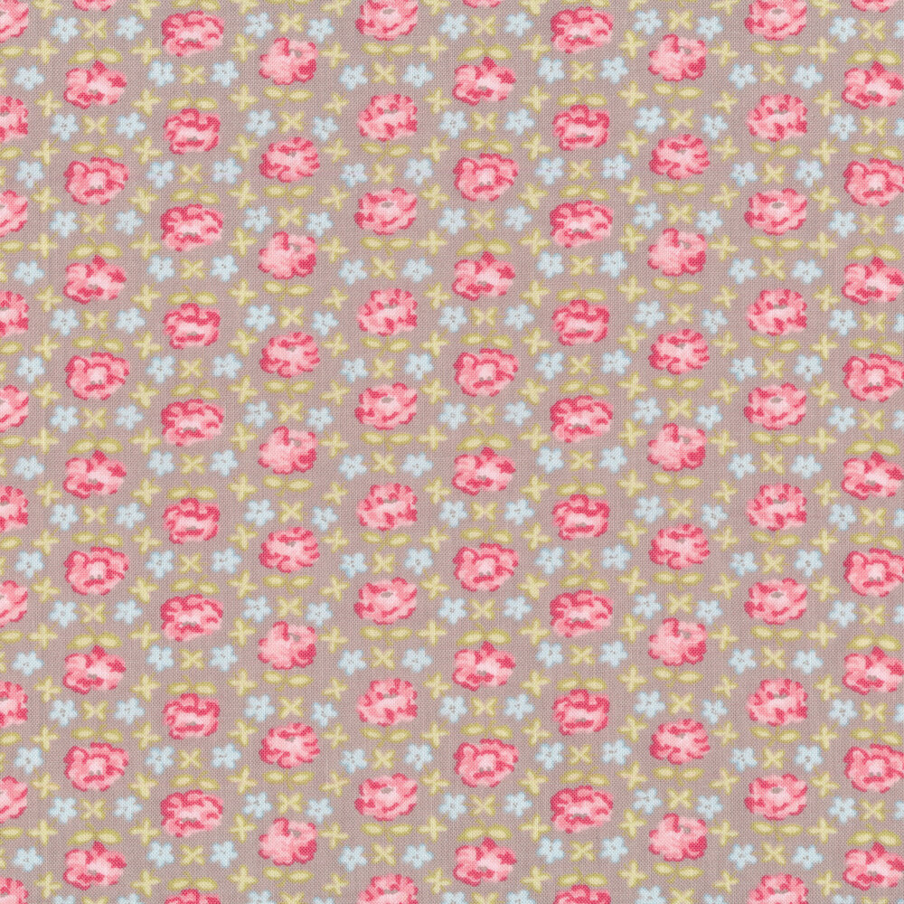 Pink and blue geometric floral on a gray background