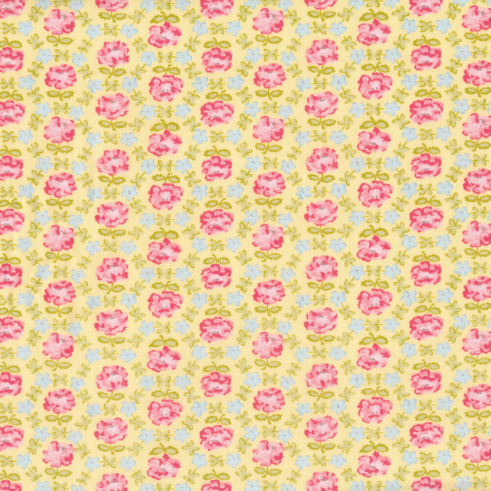 Pink and blue geometric floral on a yellow background