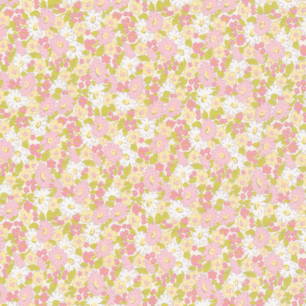 Pink, yellow, and white floral allover