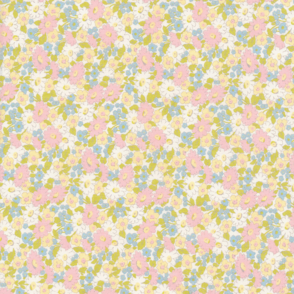 Pink, yellow, blue, and white floral allover