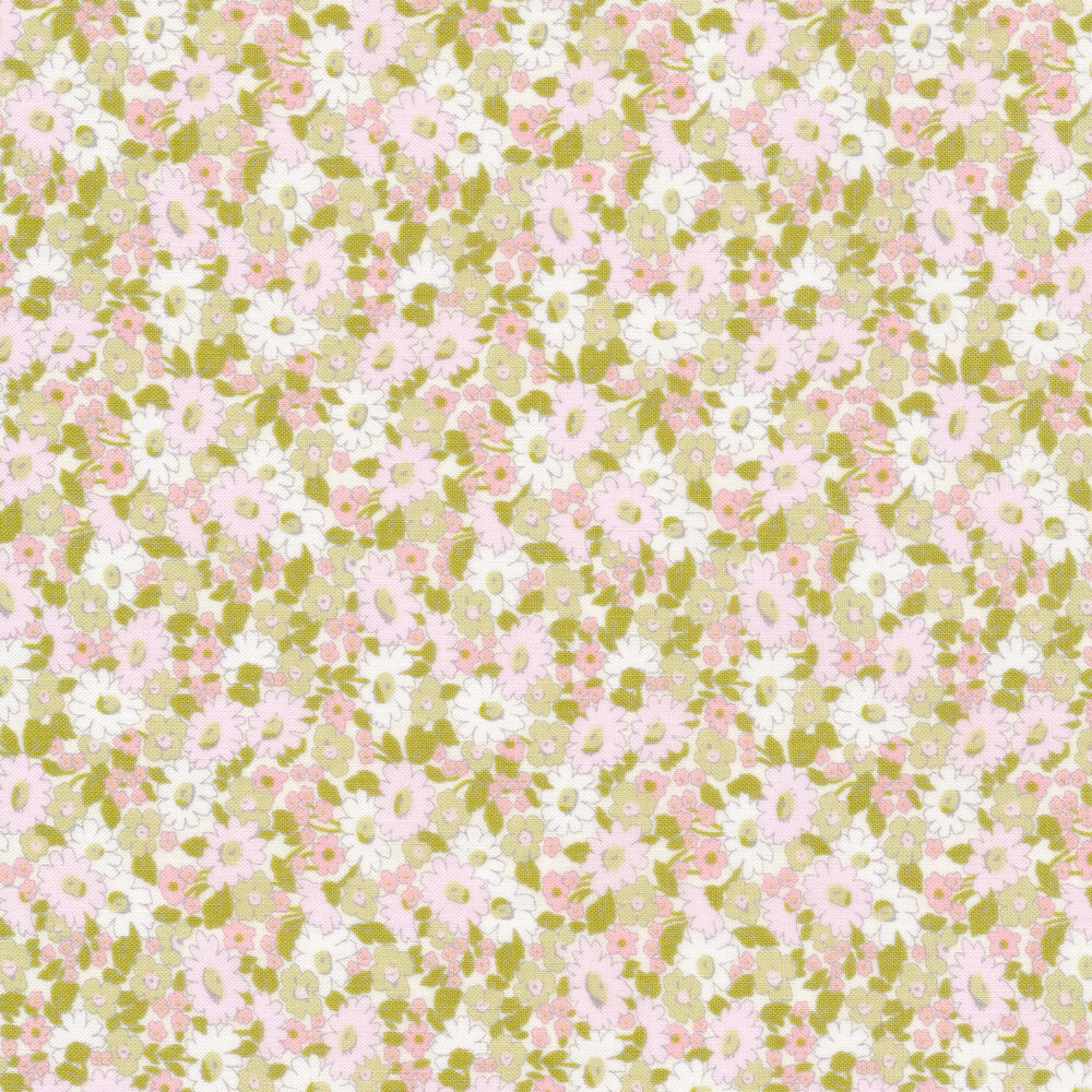 Pink, green, and white floral allover