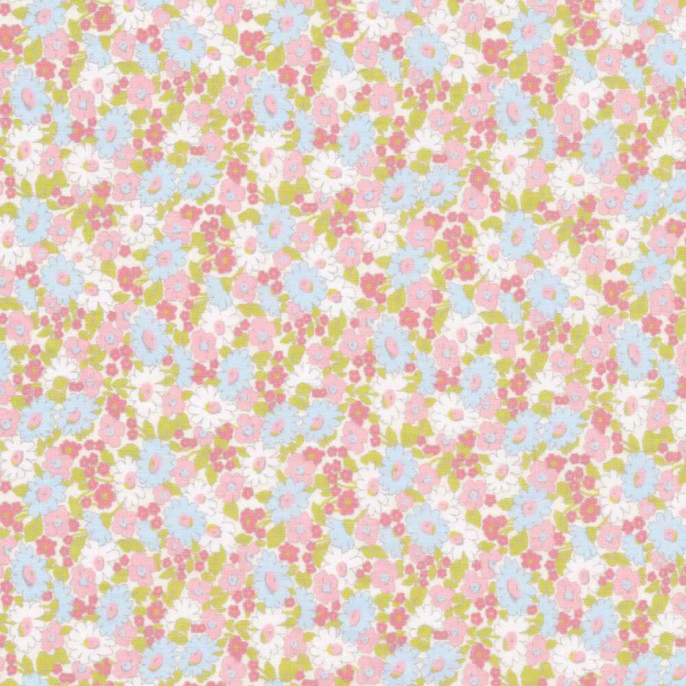 Pink and blue floral allover
