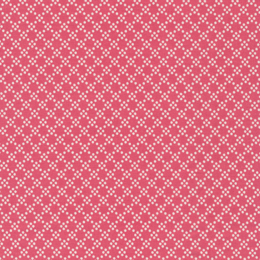 White geometric dots on a pink background