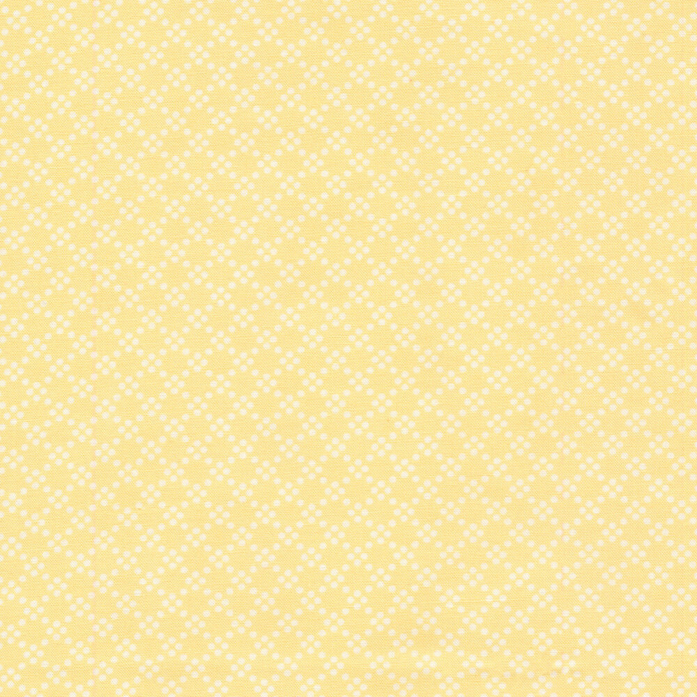 White geometric dots on a yellow background