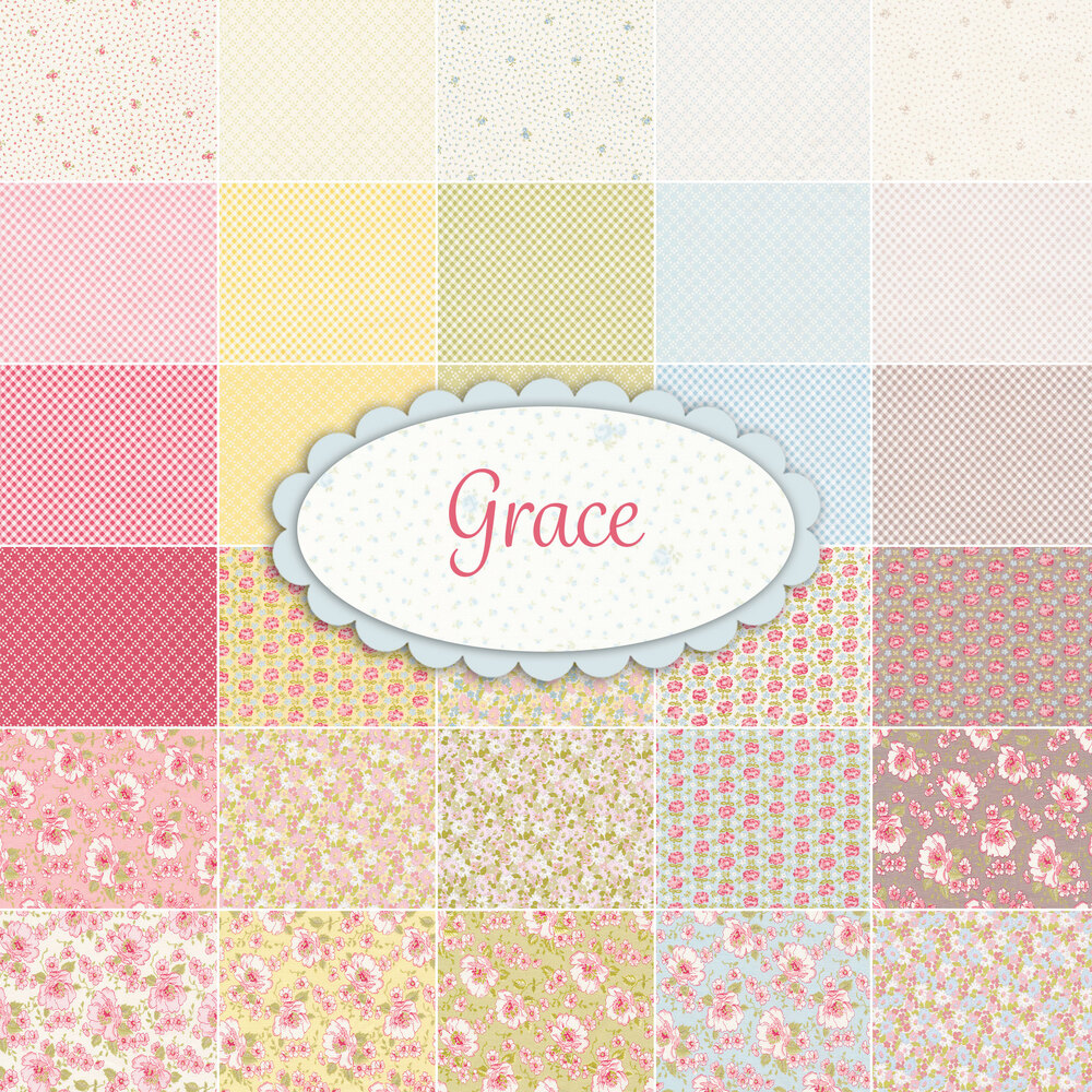 A collage of fabric from the Grace collection