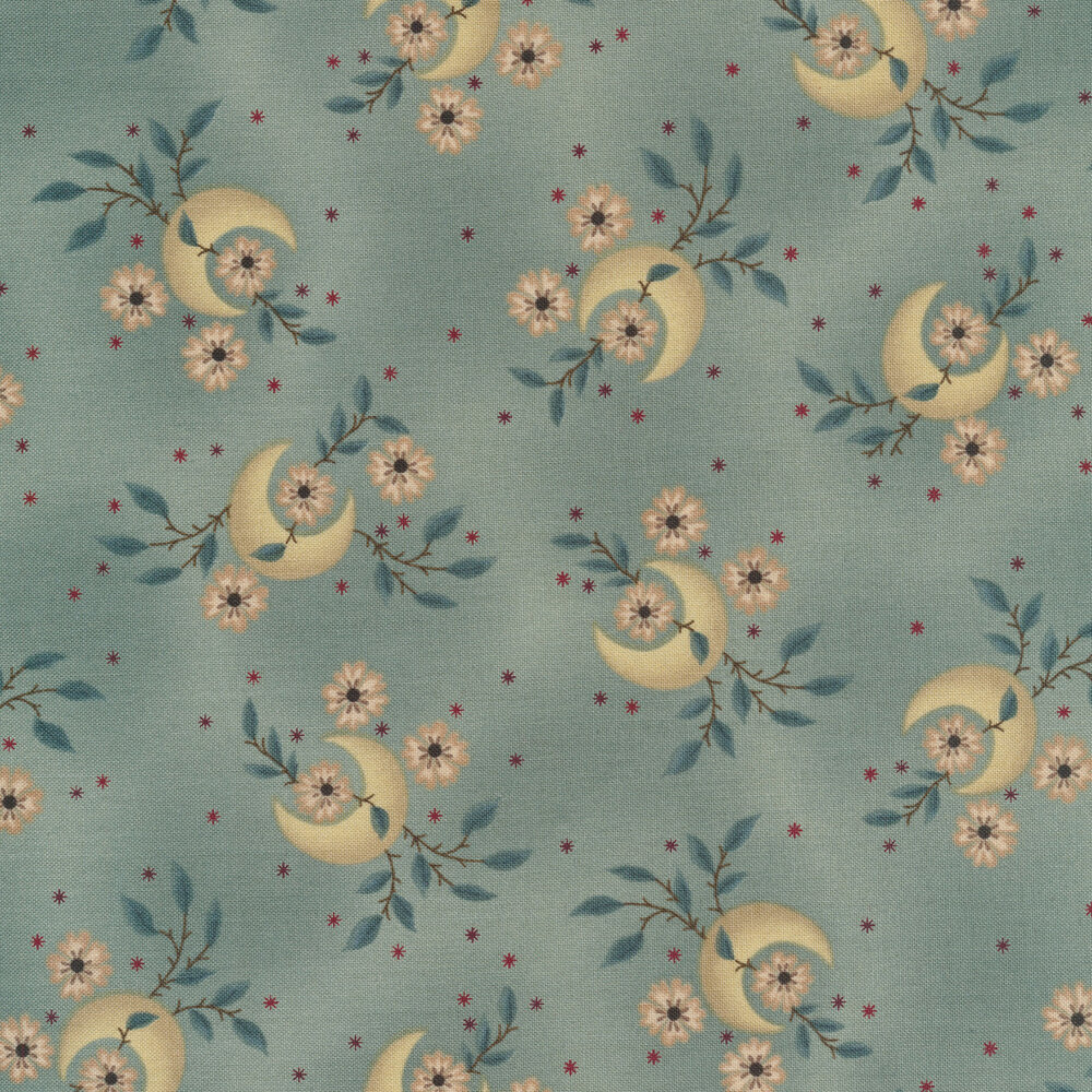 Tossed crescent moons and flowers on a mottled teal background | Shabby Fabrics
