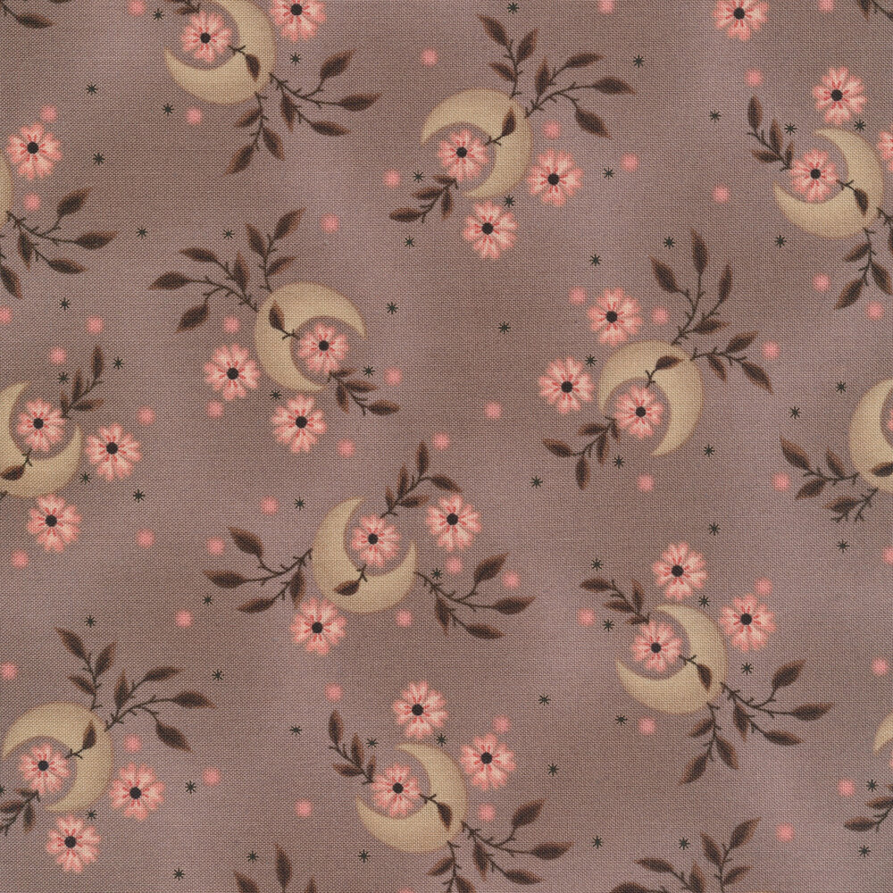 Tossed crescent moons and flowers on a mottled taupe background   Shabby Fabrics