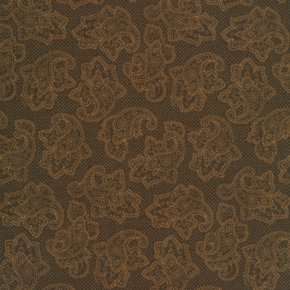 Tan dotted paisleys on a brown background | Shabby Fabrics