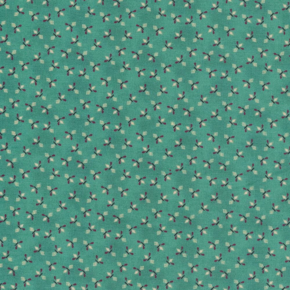 Tossed geometric diamond sprays on a turquoise background | Shabby Fabrics