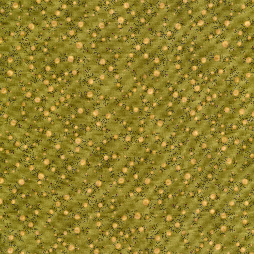 Tan dots with vines on a mottled green background   Shabby Fabrics