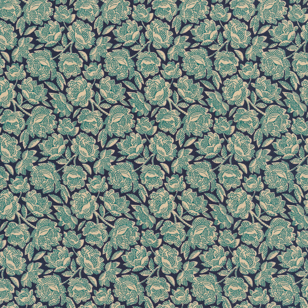 Tan vintage flowers with teal cross hatch on a dark blue background | Shabby Fabrics