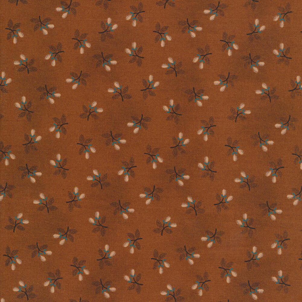 Tossed berry sprigs on a brown background | Shabby Fabrics