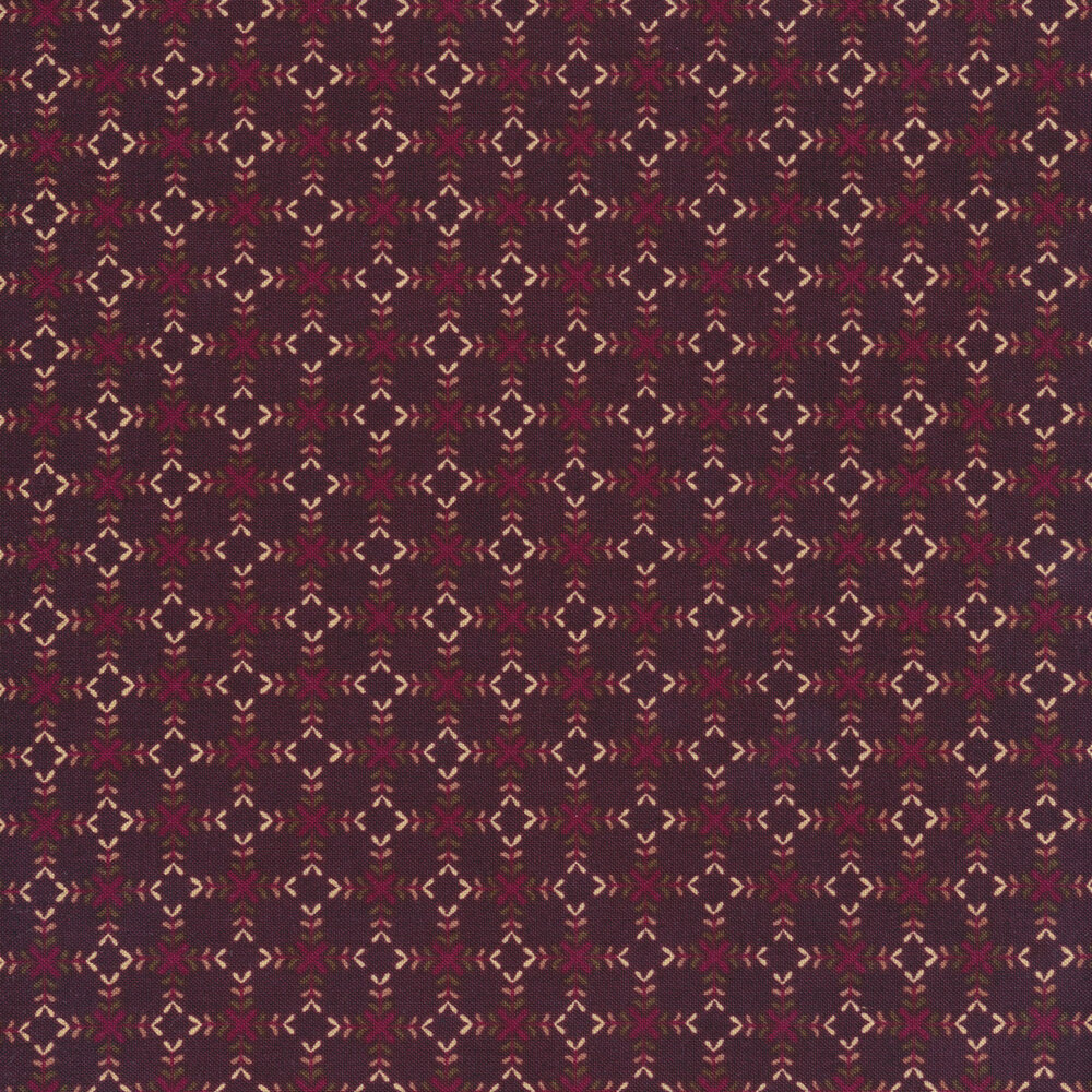 Flower blossoms making diamond shapes on a dark wine colored background | Shabby Fabrics