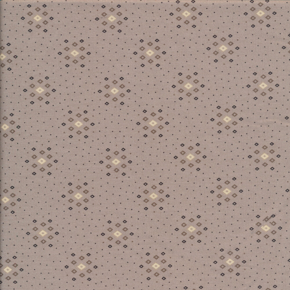 Dark gray diamond clusters and dots on a gray background | Shabby Fabrics
