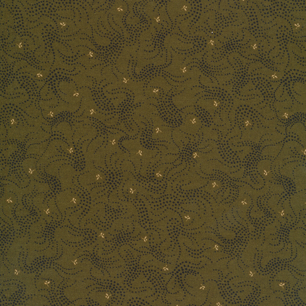 Black dotted brambles on a forest green background | Shabby Fabrics