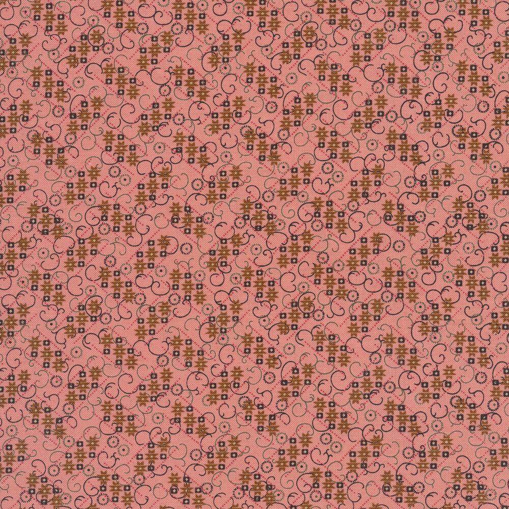 Black swirls and cascading stars on a light pink background | Shabby Fabrics
