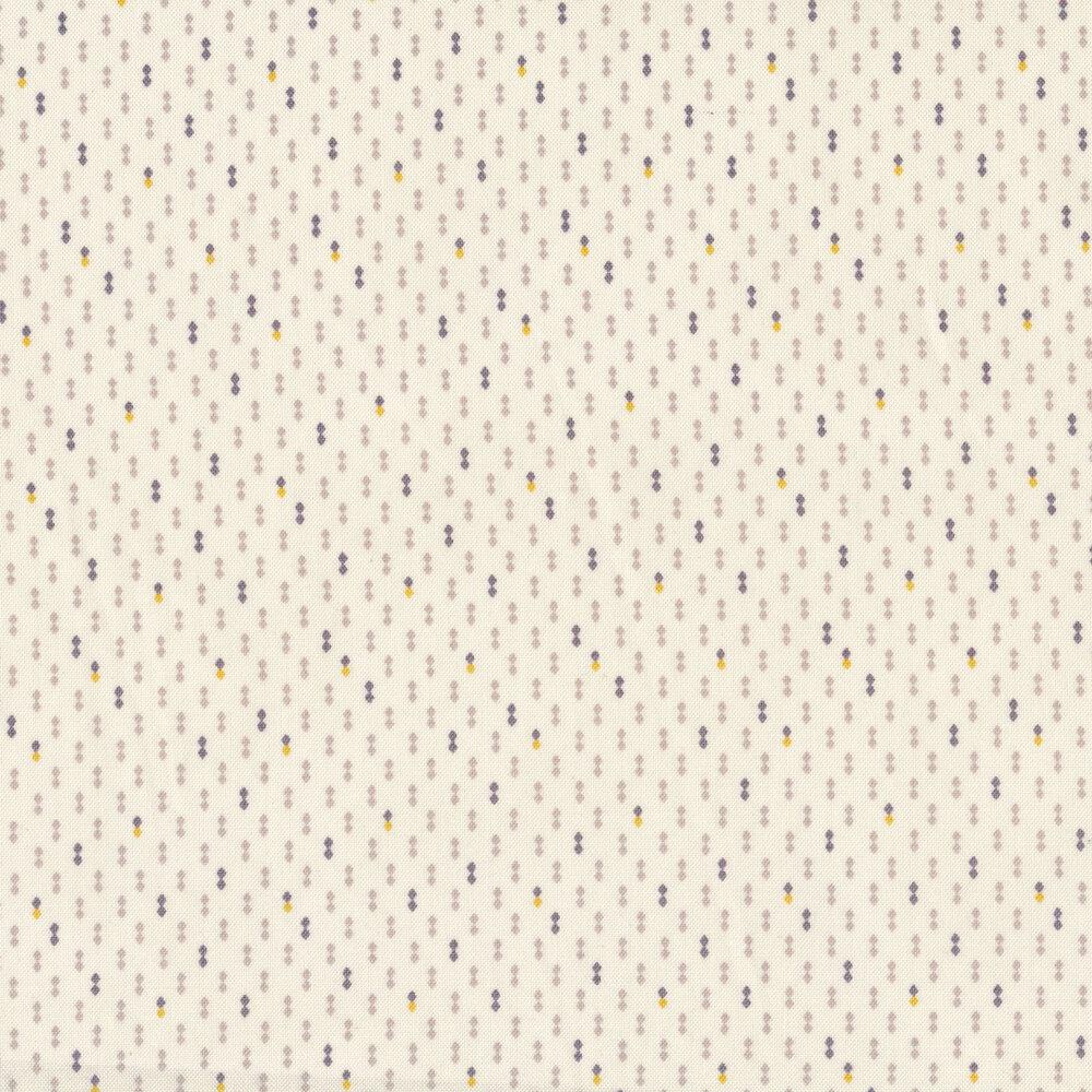 Black, gray, and yellow double diamonds on a cream background | Shabby Fabrics