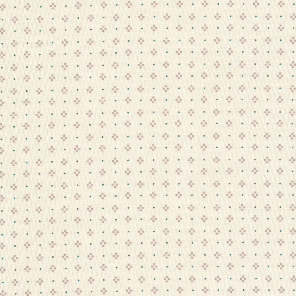 Green boxes and gray dots on a cream background | Shabby Fabrics