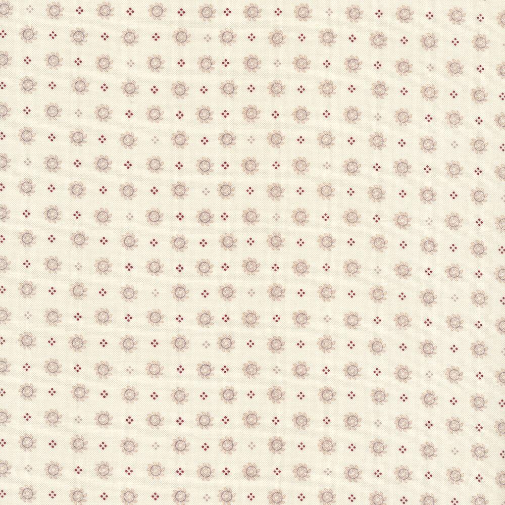 Gray laurel wreaths on a cream background | Shabby Fabrics