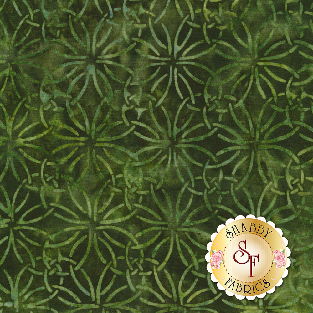 Tonal batik with interlocked rings on a dark green mottled background | Shabby Fabrics
