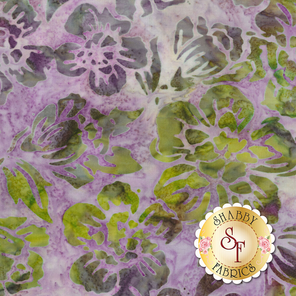 Green and grey flower outlines on a mottled pink background | Shabby Fabrics
