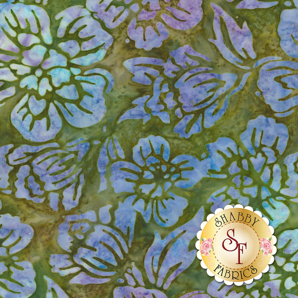 Blue and purple mottled flower outlines on a mottled green background | Shabby Fabrics