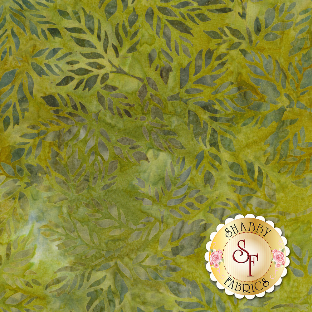 Grey mottle leaves on a mottled olive green background | Shabby Fabrics