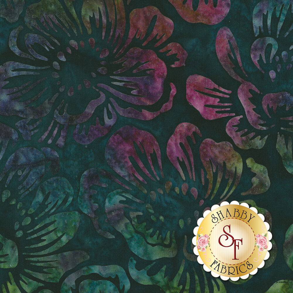 Multi colored mottled floral patterns on a dark teal mottled background | Shabby Fabrics