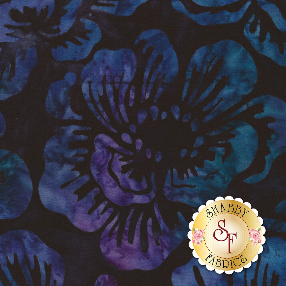 Blue and purple mottled flowers on a black background | Shabby Fabrics