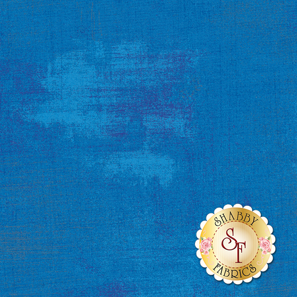 Bright blue grunge textured fabric | Shabby Fabrics