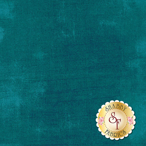 Mottled dark teal grunge textured fabric | Shabby Fabrics