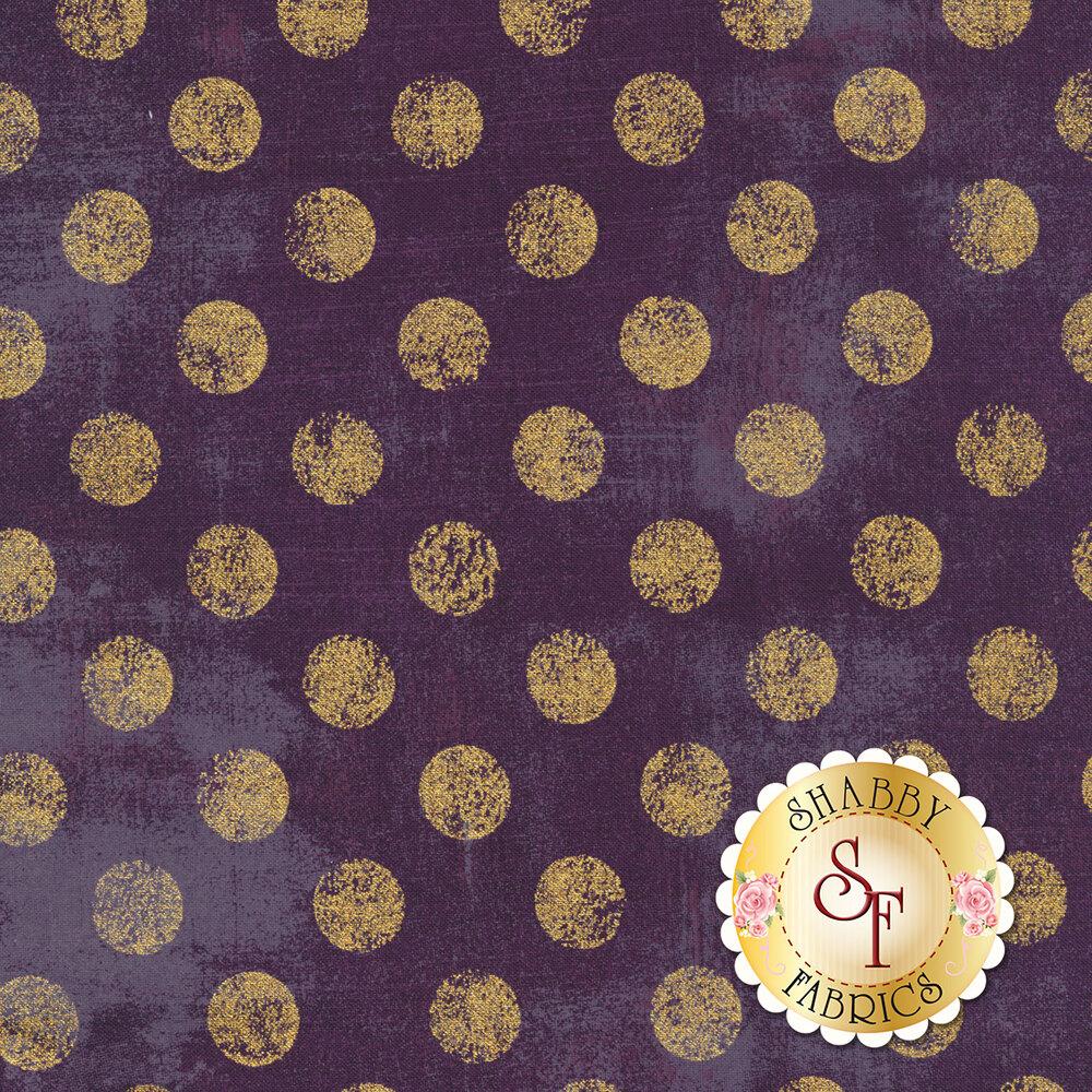 Large metallic gold polka dots on textured purple | Shabby Fabrics