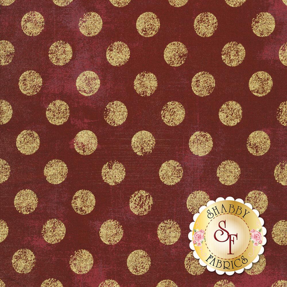 Large metallic gold polka dots on textured maroon | Shabby Fabrics