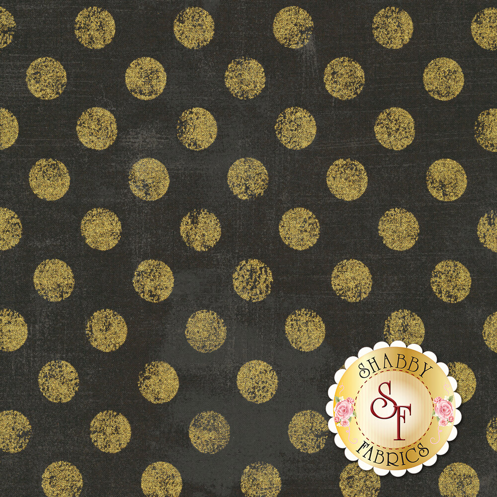 Large metallic gold polka dots on textured dk. brown | Shabby Fabrics