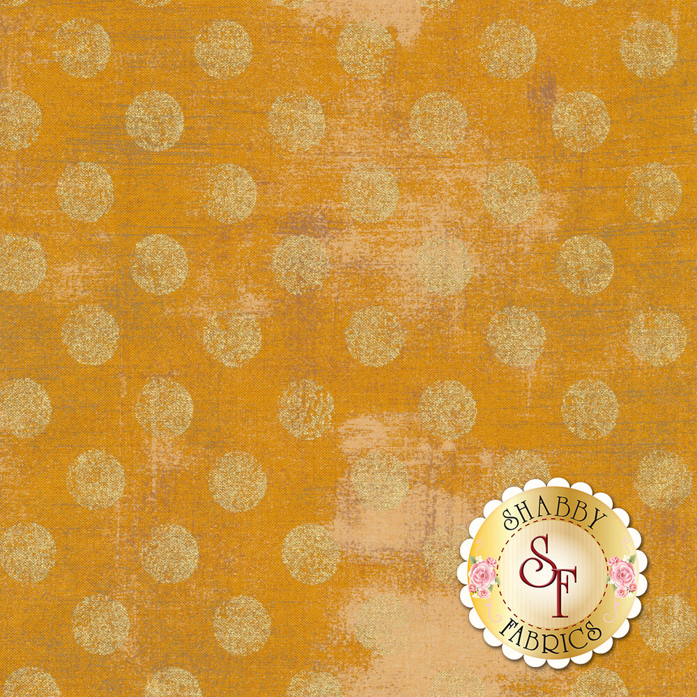 Large metallic gold polka dots on textured yellow/gold | Shabby Fabrics