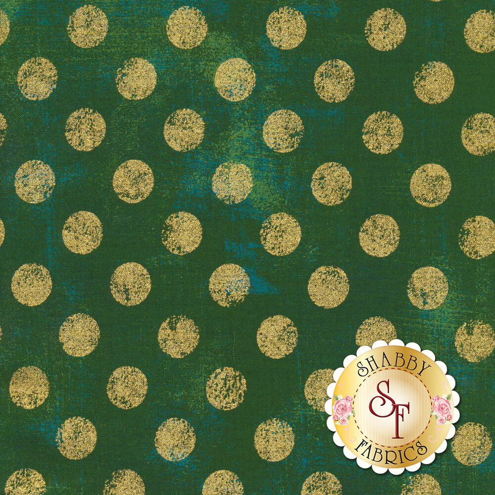 Large metallic gold polka dots on textured green | Shabby Fabrics