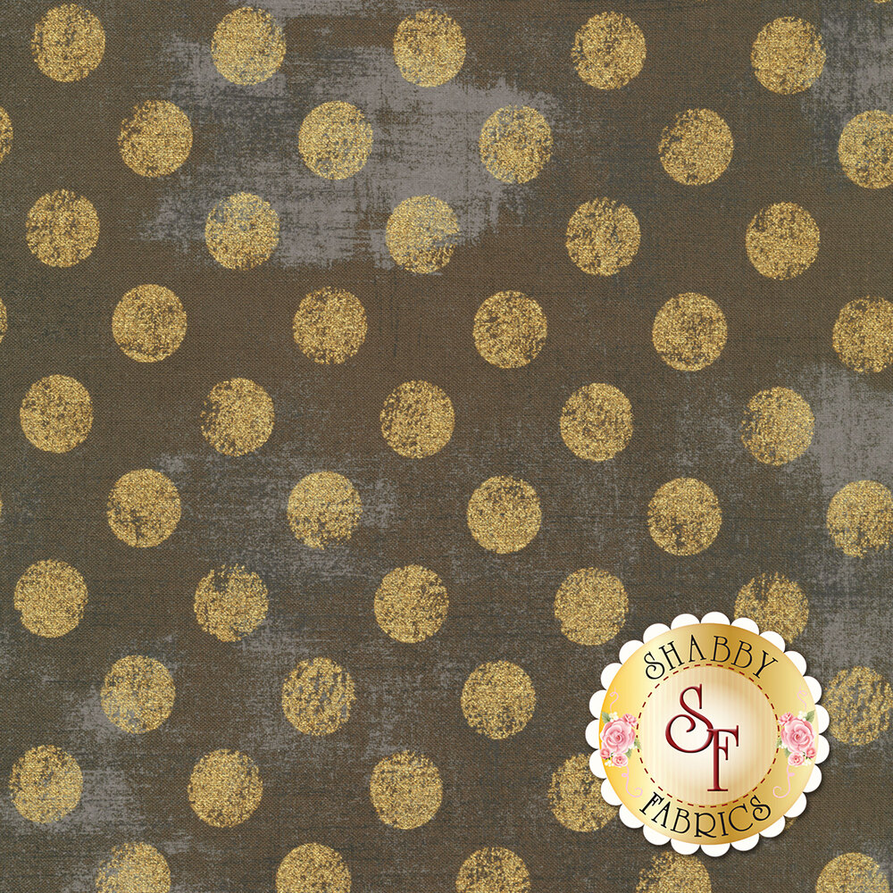 Large metallic gold polka dots on textured gray | Shabby Fabrics