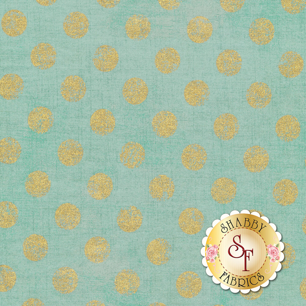 Large metallic gold polka dots on textured light blue | Shabby Fabrics