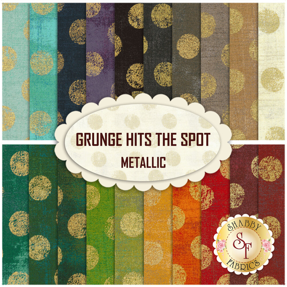 Collage of fabrics in Grunge Hits the Spot 20 FQ set| Shabby Fabrics