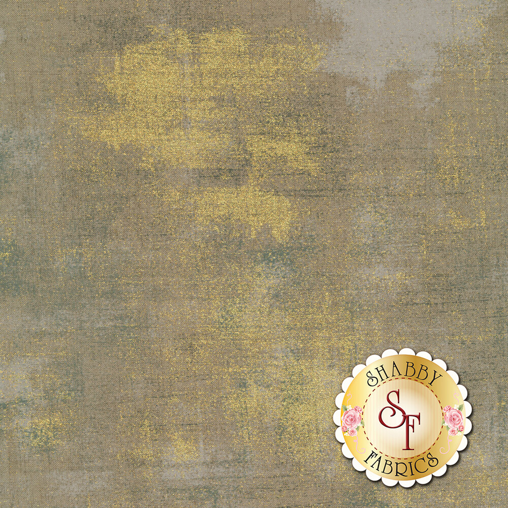 Gray textured fabric with metallic gold | Shabby Fabrics