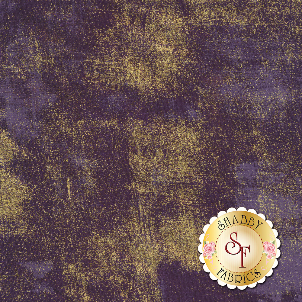Dark purple textured fabric with metallic gold | Shabby Fabrics