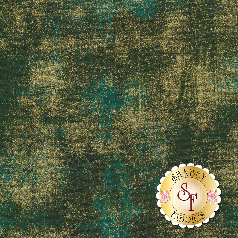 Dark green textured fabric with metallic gold | Shabby Fabrics