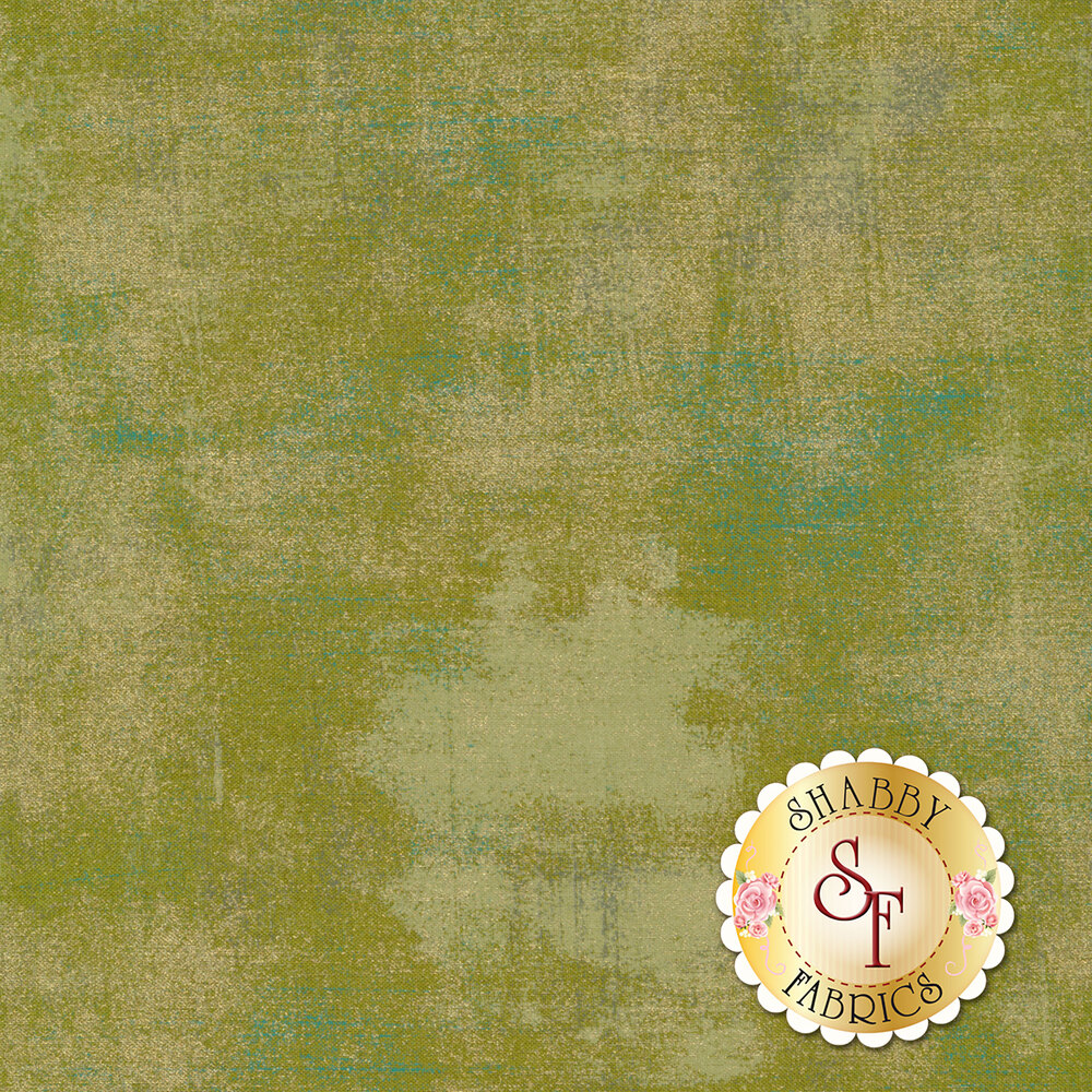 Green textured fabric with metallic gold | Shabby Fabrics
