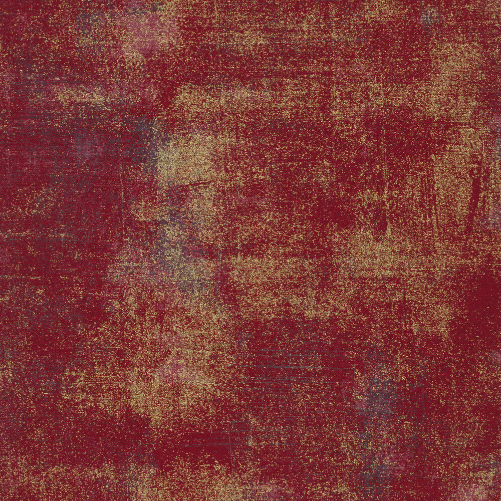 Red textured fabric with metallic gold | Shabby Fabrics