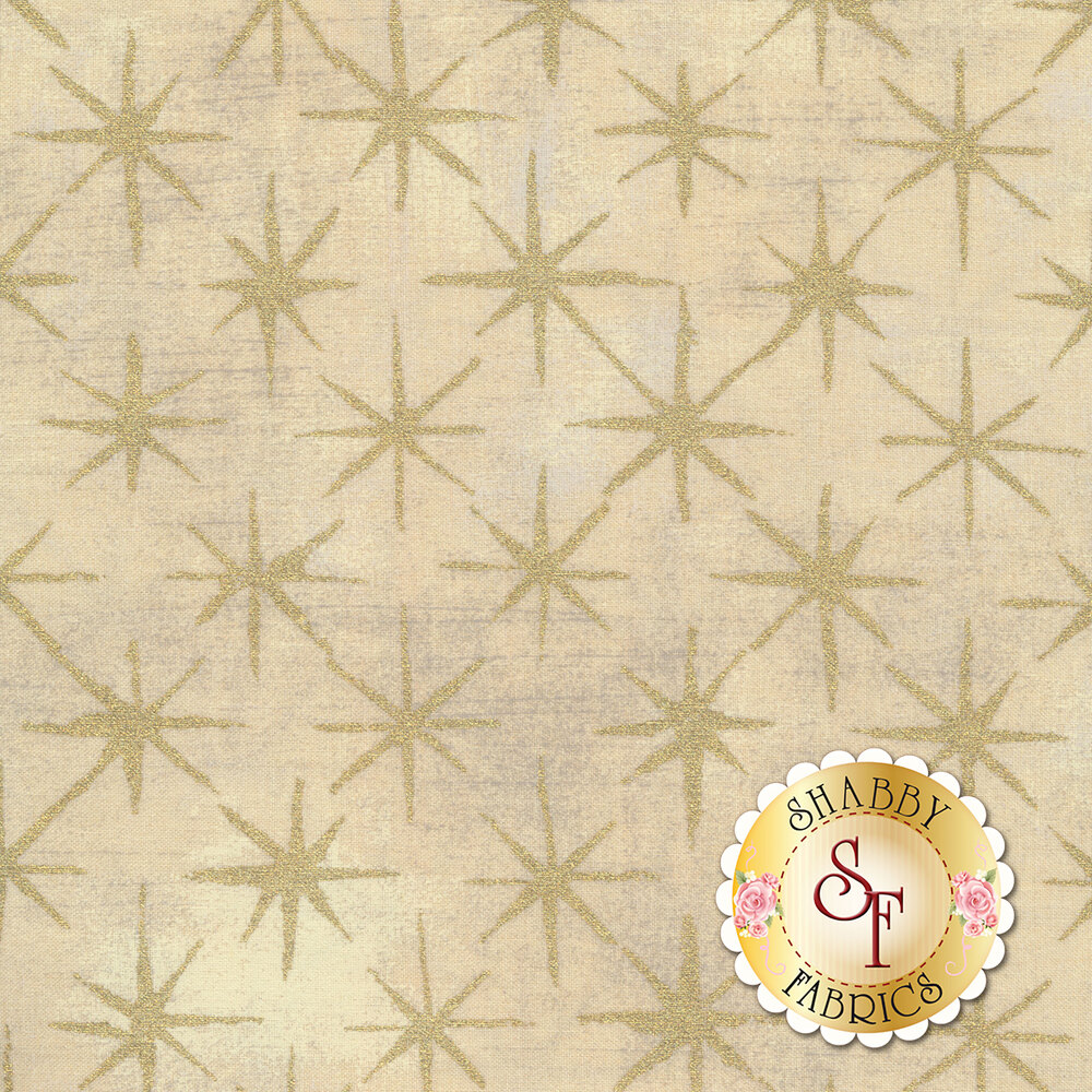 Gold stars on textured cream | Shabby Fabrics