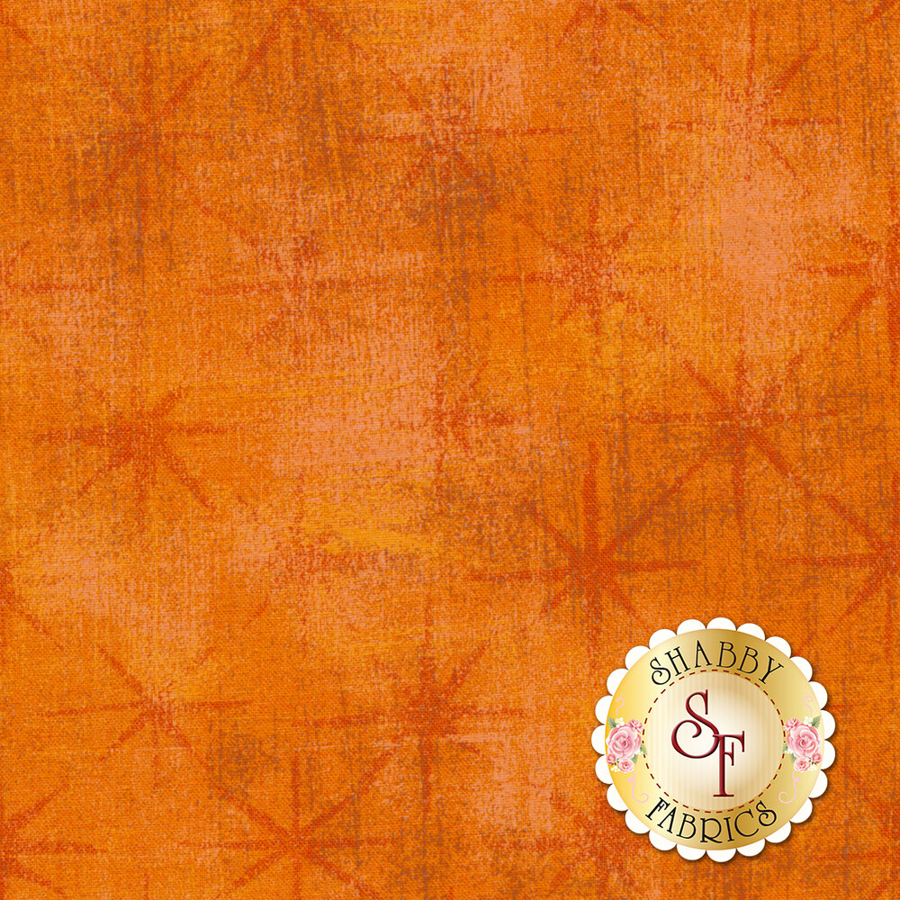 Tonal grunge textured orange fabric with dark orange stars | Shabby Fabrics