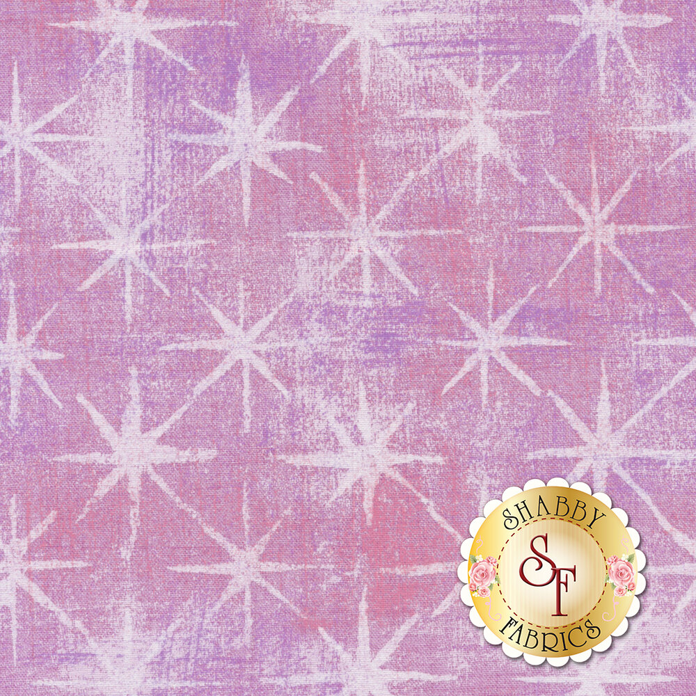 Purple grunge texture fabric with white stars | Shabby Fabrics