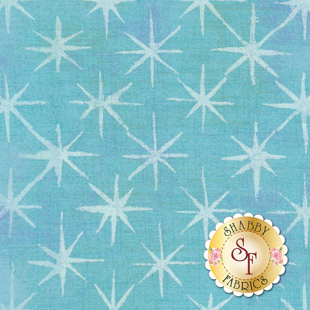 A light blue and purple mottled fabric with grunge stars | Shabby Fabrics